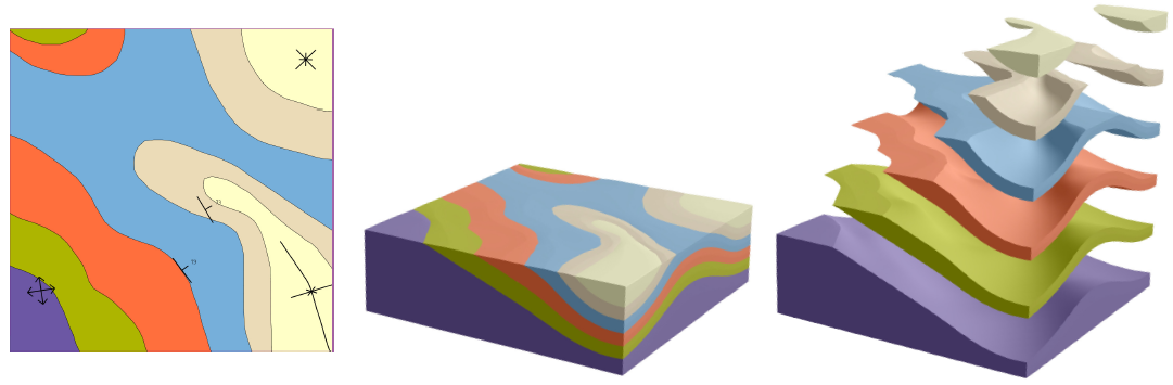Interpreting a sketched geologic map to generate a 3D geologic model. From left to right, sketched geologic map, generated 3D model, and exploded view of the model.