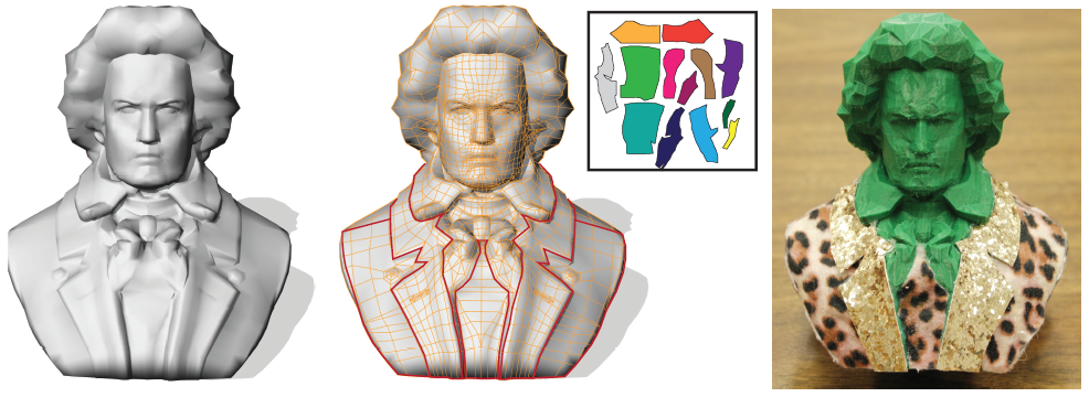A covered 3D model of Beethoven resulting from Cover-it.