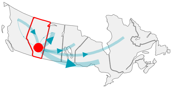 Distribution of natural gas across Canada.
