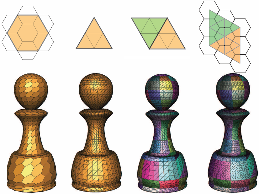 Using hierarchical grid conversions, we can use simple quadrilateral shapes for triangular/hexagonal semiregular meshes and define efficient data structures and new refinements for them.